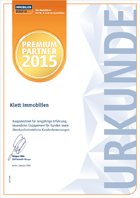 Urkunde Klett Immobilien Premium Immobilienmakler 2015