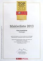 Urkunde Klett Immobilien TOP 1000 Immobilienmakler 2013