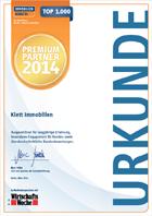 Urkunde Klett Immobilien TOP 1000 Immobilienmakler 2014