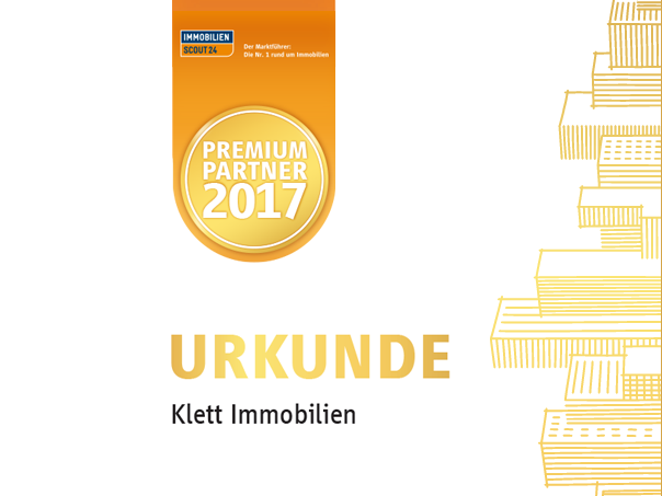 Urkunde Klett Immobilien Premium Immobilienmakler 2017